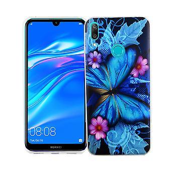 Huawei 2019 King Shop téléphone étui protection étui housse pare-chocs papillon bleu