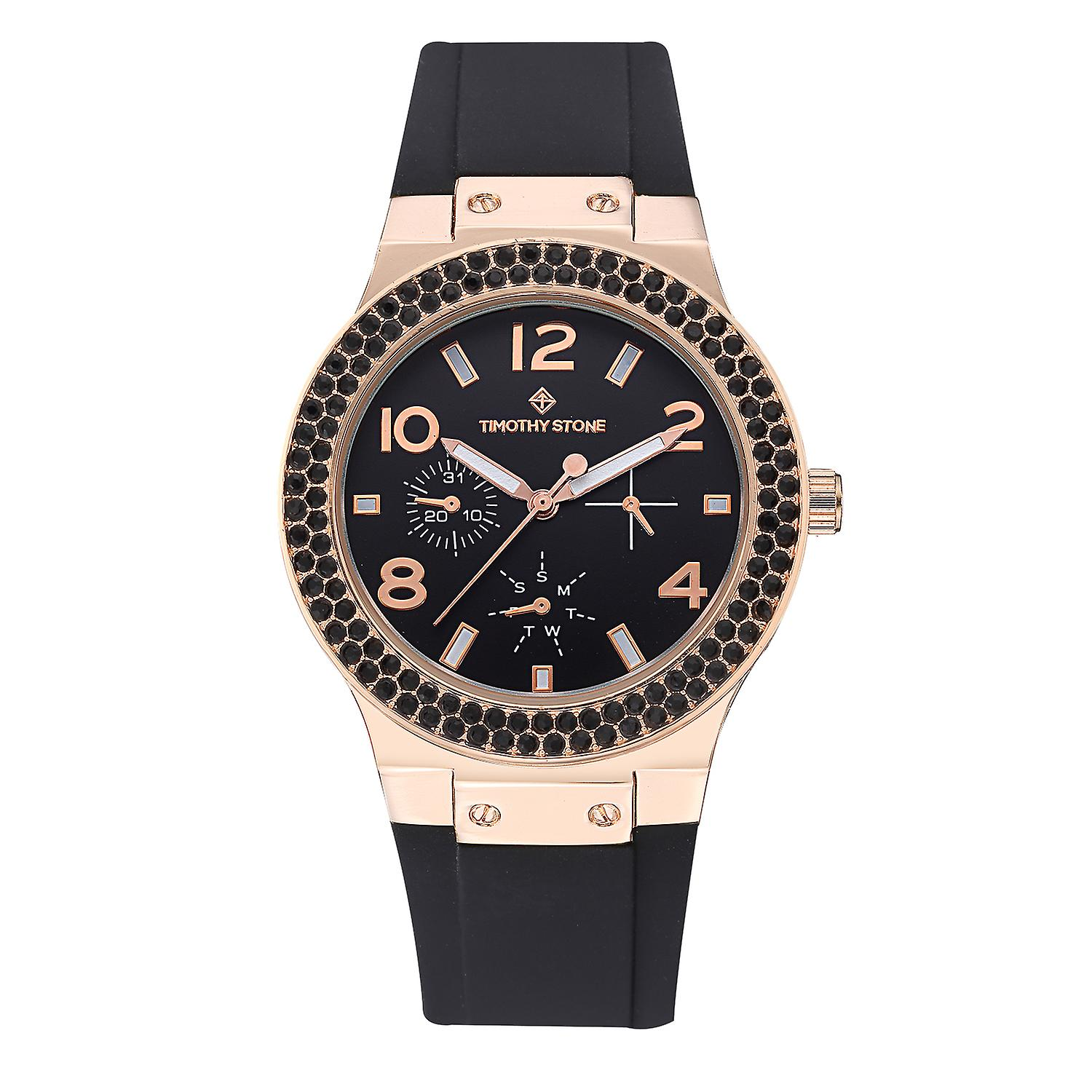 Timothy Stone Women's FA�ON-SPORT Rose Gold-Tone and Black Strap Watch