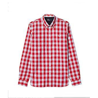 Фред Перри тартан ситцевом Mix мужчин с длинным рукавом рубашки M8274-956
