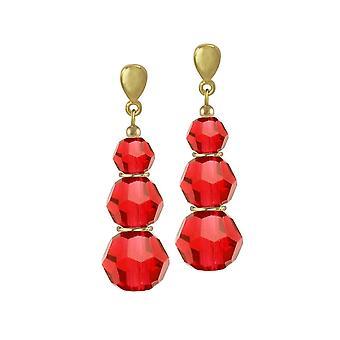 Evig samling Trinity lys Siam røde østerrikske Crystal gull Tone slipp klipp på øredobber