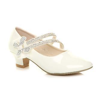 Ajvani meisjes lage hak band boog bruidsmeisje partij formele schoenen