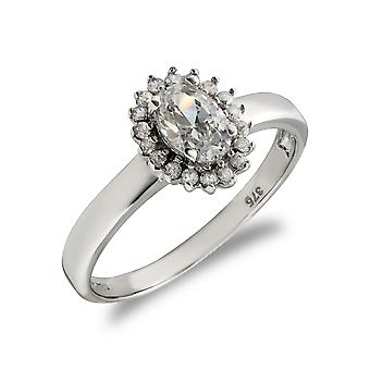 Jewelco London Ladies Solid 9ct White Gold White Oval Cubic Zirconia Royal Princess Style Oval Cluster Ring