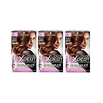 Schwarzkopf Color Expert 5.67 Auburn Brown Omegaplex Permanent Hair Dye x3