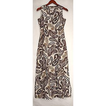 Denim & Co. Dress Perfect Jersey Sleeveless Paisley Print Maxi Brown A252694