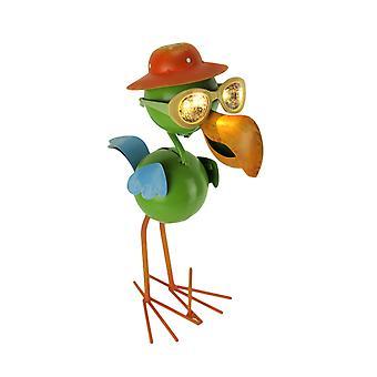 Metal Art Flamingo in Hat and Glasses Solar Eyes LED Light Garden Statue