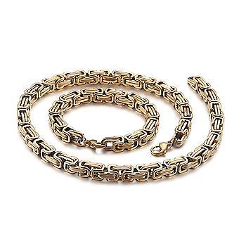 5mm royal chain pulsera collar de hombres collar de cadena de hombres, cadenas de acero inoxidable de oro de 23 cm