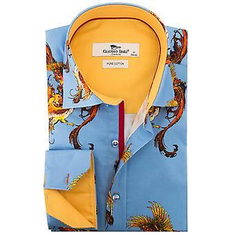 Клаудио Lugli подъем Феникса печати Мужская рубашка