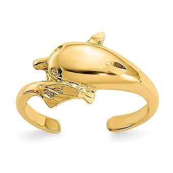 14k Yellow Gold Polished and Sparkle Cut Dolphin Toe Ring Jewelry Gifts for Women