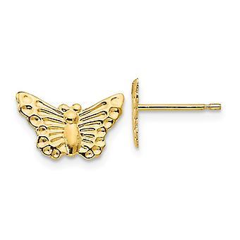 14k Gul Guld Poleret Butterfly Angel Wings Post Øreringe smykker Gaver til kvinder - 0,3 Gram