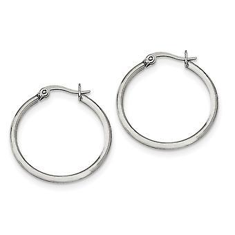 Stainless Steel Hinged Polished 25mm Diameter Hoop Earrings