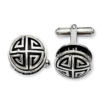 Stainless Steel Polished Black Enamel and Greek Key Cuff Links Jewelry Gifts for Men