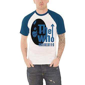 The Who T Shirt Maximum R & B logo new Official Mens White Raglan baseball shirt