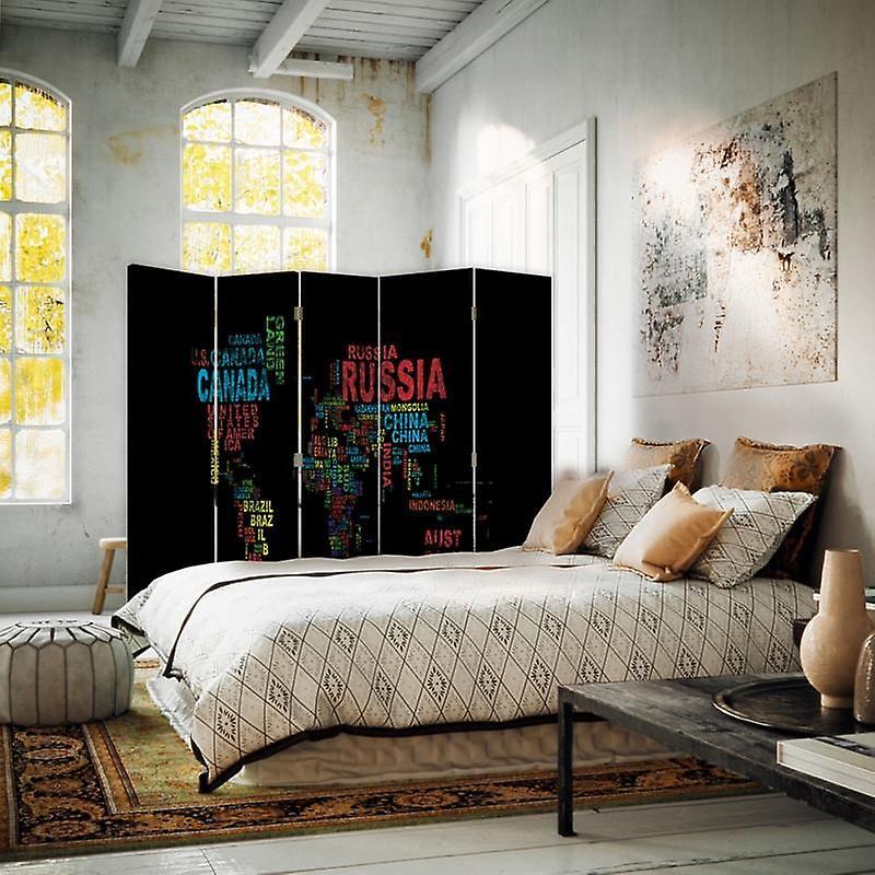 Diviseur de chambre, 5 panneaux, double-face, 360 rotatable, toile, carte du monde avec sous-titres