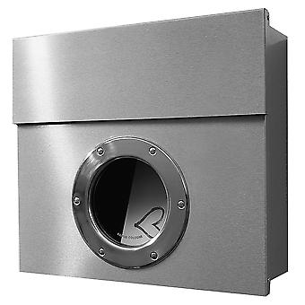 Letterman 1 RADIUS design letter box stainless steel with window, hidden Castle, wall mailbox with porthole