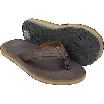 Quiksilver mens Carver nubuck vegan casual flip flops-mörkbrun
