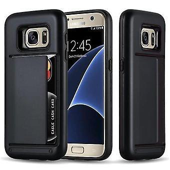 Cadorabo Hülle für Samsung Galaxy S7 Case Cover - Handyhülle mit Kartenfach - Hard Case TPU Silikon Schutzhülle für Hybrid Cover im Outdoor Heavy Duty Design