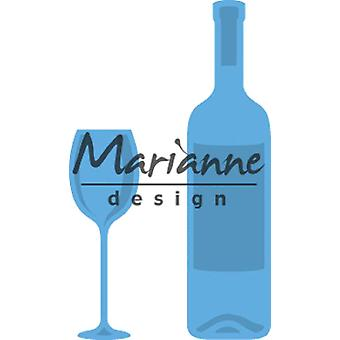 Marianne Design Creatables Wine Bottle and Glass Die, Metal, Blue, 13.2 x 9.9 x 0.2 cm