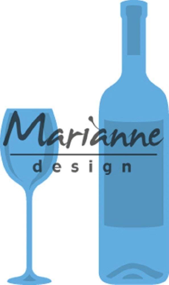 Marianne Design Creatables Wine Bottle and Glass Die, Metal, Blue, 13.2 x 9.9 x 0.2 cm