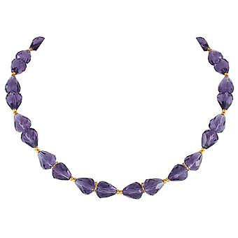 Eternal Collection Sophistication Amethyst Crystal Gold Tone Necklace