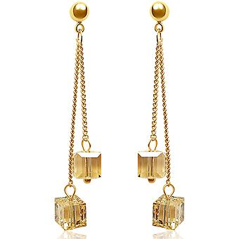 Gold plated earrings with swarovski crystal. jewellery box. by 2splendid. eqz007-gc
