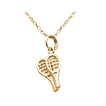 Gemshine tennis racket in 925 silver, gold plated or rose - sports jewelry