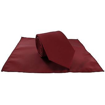 Michelsons af London Plain Polyester Pocket Square og binde sæt - mørkerød
