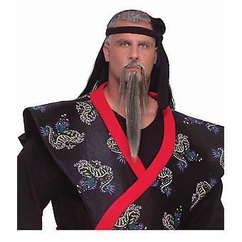 Samurai japanische Sensai Master Krieger Männer Kostüm grauen Bart Schnurrbart