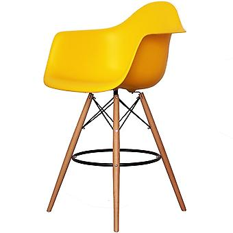 Charles Eames Style Bright Yellow Plastic Bar Stool With Arms