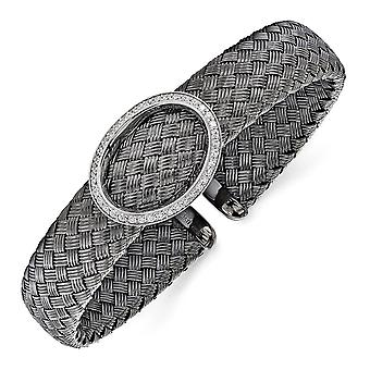 925 plata esterlina CZ zirconia cúbica simulada diamante negro tejido flexible brazalete apilable pulsera joyería regalo de la joyería