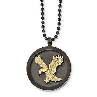 Rostfritt stål borstat polerat svart guld Ip pläterad Eagle Disk Halsband 24 tums smycken gåvor för kvinnor