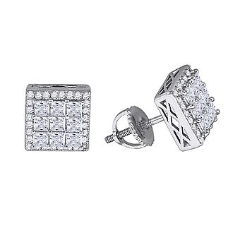 925 Sterling Silver Mens Womens Unisex Princess CZ Cubic Zirconia Simulated Diamond Stud Cluster Square Fashion Earrings