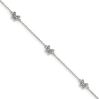 925 Sterling Silver Polished CZ Cubic Zirconia Simulated Diamond Butterfly Angel Wings With 1inch Ext. Bracelet 6 Inch