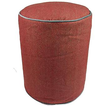 Mcalister textiles deluxe herringbone round red ottoman stool
