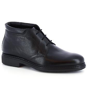 Leonardo Shoes Men's handmade chukka boots in black napa leather fur inside