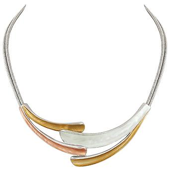 Eternal Collection Unity Three Tone Gold Enamel Statement Silver Tone Necklace