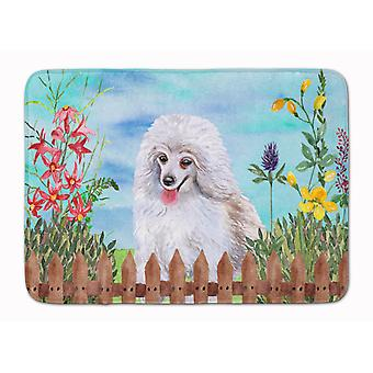 Medium White Poodle Spring Machine Washable Memory Foam Mat