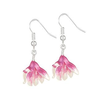 Eternal Collection Magnolia Pink And White Enamel Silver Tone Flower Drop Pierced Earrings