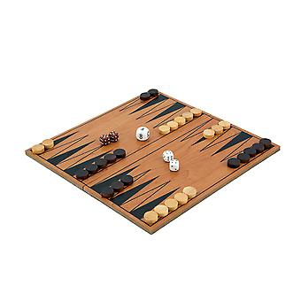 Compacte opvouwbare houten Backgammon Set