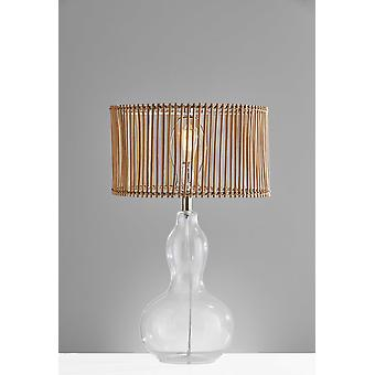 """16"""" X 16"""" X 26.5"""" Natural Glass Metal Gourd Table Lamp"""
