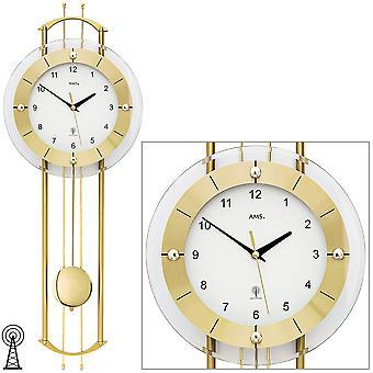 Wall clock radio radio controlled wall clock with pendulum AMS 5257 modern golden pendulum clock with glass