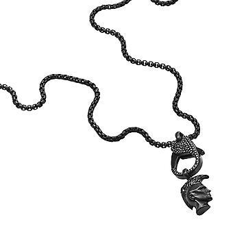 krage og anheng diesel smykker søyle dx1160001 - svart stål strass man