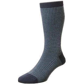 Pantherella Highbury lã merino Houndstooth Socks-Marinha