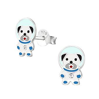 Dog Space - 925 Sterling Silver Crystal Ear Studs - W37211x