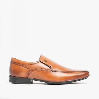 Front Belmont Mens Leather Tramline Loafers Tan