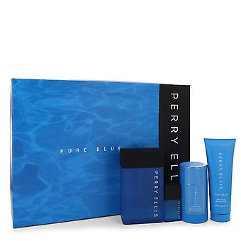 Perry Ellis Pure Blue Gift Set By Perry Ellis 3.4 oz Eau De Toilette Spray + 3 oz Shower Gel + 2.75 oz Deodorant Stick + .25 oz Travel EDT Spray