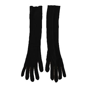 Dolce & Gabbana Black Cashmere Knitted Pattern Elbow Length Gloves LB267-S