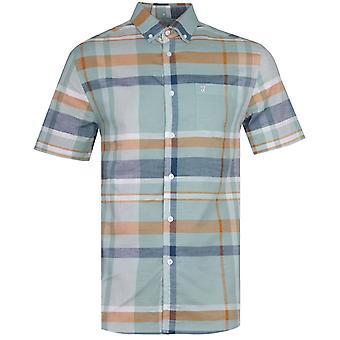 Farah Farron Modern Fit Pastel Green Checked Short Sleeve Shirt