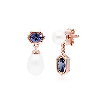 Moderne Perle & Tanzanit nicht übereinstimmende Tropfen Ohrringe in Rose vergoldet Sterling Silber 270E030408925