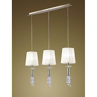 Tiffany Pendant Lamp 3 + 3 Bulbs E27 + G9 Line, Golden With White Lampshades & Transparent Crystal