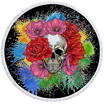 الزهور الملونة الجمجمة منشفة الشاطئ